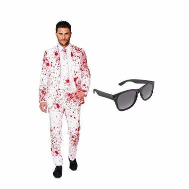 Carnavalskostuum bloedspatten heren pak 58 (xxxxl) met gratis zonnebr