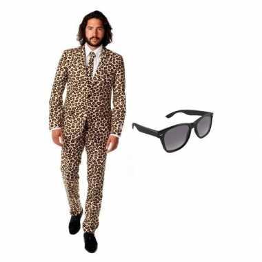 Carnavalskostuum bruin heren pak 52 (xl) met gratis zonnebril