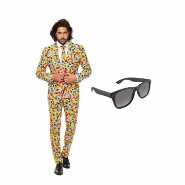 Carnavalskostuum confetti print heren pak 54 (xxl) met gratis zonnebr