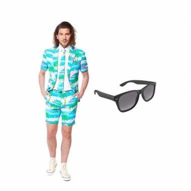 Carnavalskostuum flamingo zomer heren pak 46 (s) met gratis zonnebril