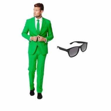 Carnavalskostuum groen heren pak 46 (s) met gratis zonnebril