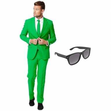 Carnavalskostuum groen heren pak 54 (xxl) met gratis zonnebril