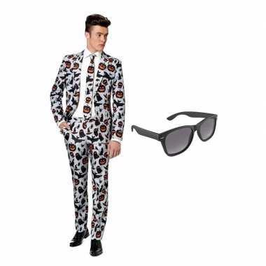 Carnavalskostuum halloween print heren pak 48 (m) met gratis zonnebri