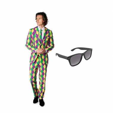Carnavalskostuum harlekijn print heren pak 52 (xl) met gratis zonnebr