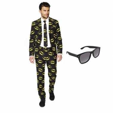 Carnavalskostuum heren batman print pak 52 (xl) met gratis zonnebril