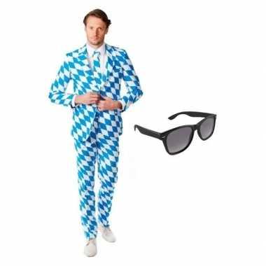 Carnavalskostuum heren beierse print pak 48 (m) met gratis zonnebril