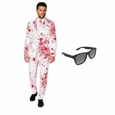 Carnavalskostuum heren bloed print pak 46 (s) met gratis zonnebril