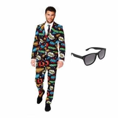 Carnavalskostuum heren comic print pak 46 (s) met gratis zonnebril