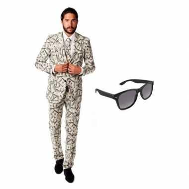 Carnavalskostuum heren dollar print pak 48 (m) met gratis zonnebril