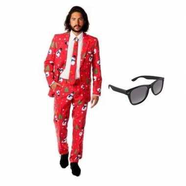 Carnavalskostuum heren kerst print pak 52 (xl) met gratis zonnebril