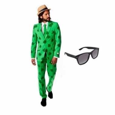 Carnavalskostuum heren klavertjes print pak 48 (m) met gratis zonnebr
