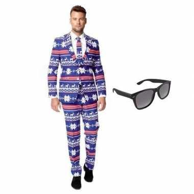 Carnavalskostuum heren rendier print pak 52 (xl) met gratis zonnebril
