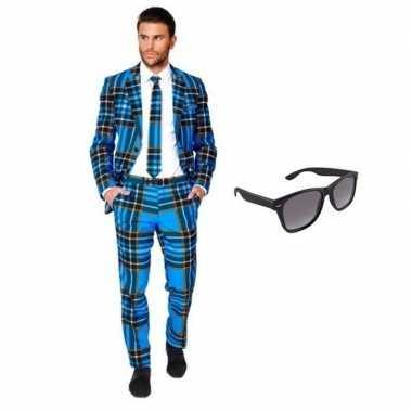 Carnavalskostuum heren schotse print pak 46 (s) met gratis zonnebril