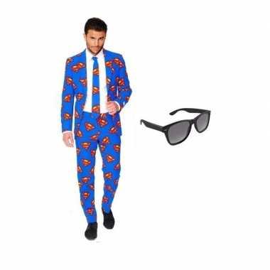 Carnavalskostuum heren superman print pak 48 (m) met gratis zonnebril