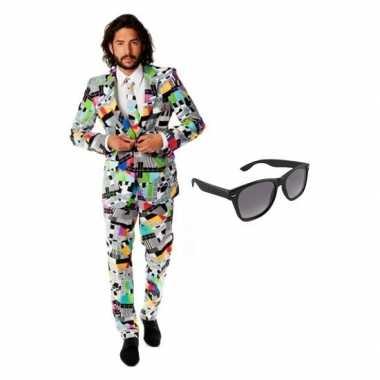 Carnavalskostuum heren televisie print pak 52 (xl) met gratis zonnebr