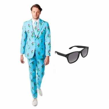 Carnavalskostuum heren tulpen print pak 48 (m) met gratis zonnebril
