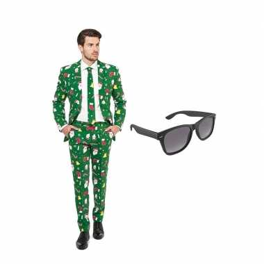 Carnavalskostuum kerst print heren pak 58 (xxxxl) met gratis zonnebri