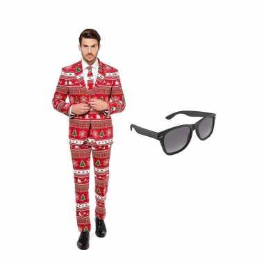 Carnavalskostuum kerstboom print heren pak 52 (xl) met gratis zonnebr