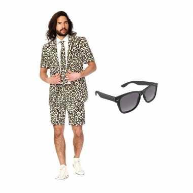 Carnavalskostuum luipaard print heren pak 52 (xl) met gratis zonnebri