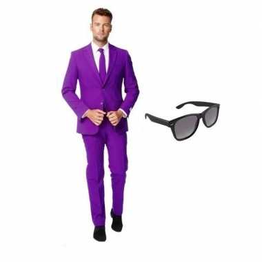 Carnavalskostuum paars heren pak 48 (m) met gratis zonnebril