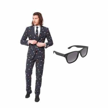 Carnavalskostuum pac-man print heren pak 46 (s) met gratis zonnebril