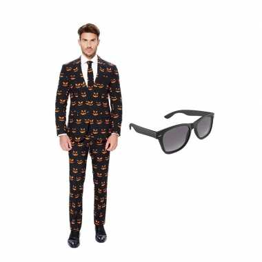 Carnavalskostuum pompoen heren pak 50 (l) met gratis zonnebril