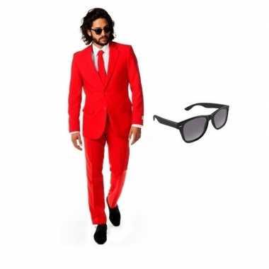 Carnavalskostuum rood heren pak 48 (m) met gratis zonnebril