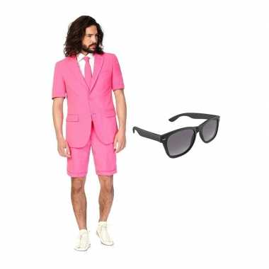Carnavalskostuum roze heren pak 48 (m) met gratis zonnebril