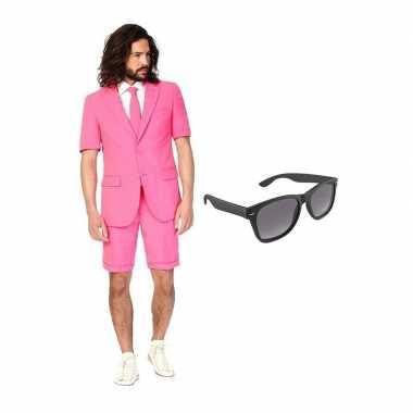 Carnavalskostuum roze heren pak 52 (xl) met gratis zonnebril