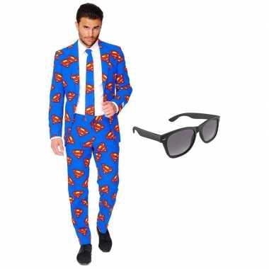Carnavalskostuum superman heren pak 56 (xxxl) met gratis zonnebril