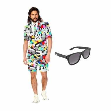 Carnavalskostuum testbeeld heren pak 52 (xl) met gratis zonnebril
