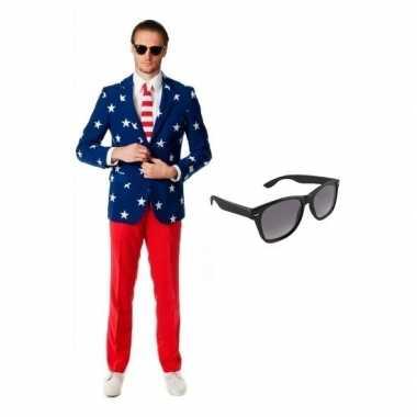 Carnavalskostuum usa heren pak 48 (m) met gratis zonnebril