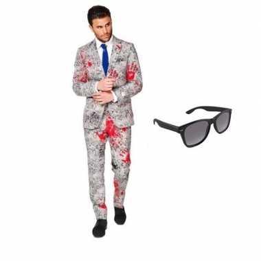 Carnavalskostuum zombie heren pak 46 (s) met gratis zonnebril