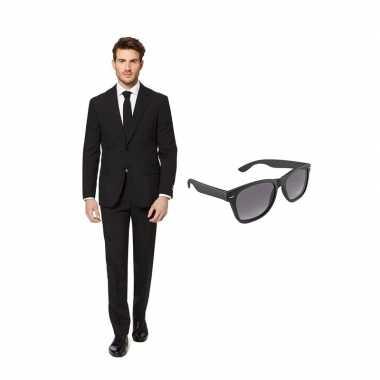 Carnavalskostuum zwart heren pak 48 (m) met gratis zonnebril