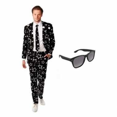 Carnavalskostuum zwart heren pak 50 (l) met gratis zonnebril
