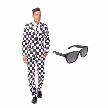 Carnavalskostuum zwart/wit geblokt print heren pak 50 (l) met gratis