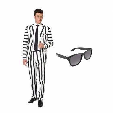 Carnavalskostuum zwart/witte strepen print heren pak 46 (s) met grati