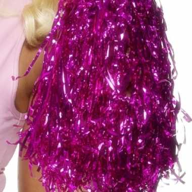 Cheerleader pompom set metallic roze