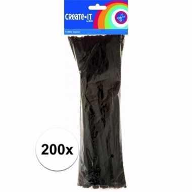 Chenilledraad zwart 30 cm 200 st