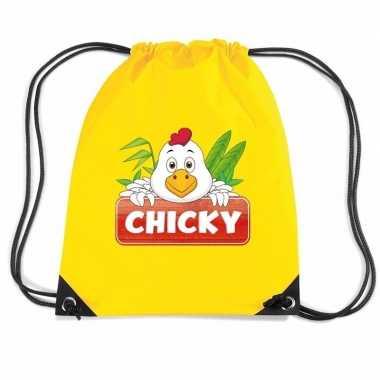 Chicky de kip trekkoord rugzak / gymtas geel voor kinderen