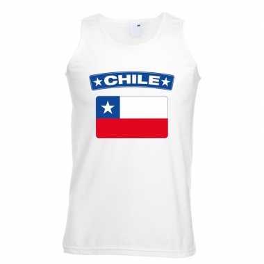 Chili vlag mouwloos shirt wit heren