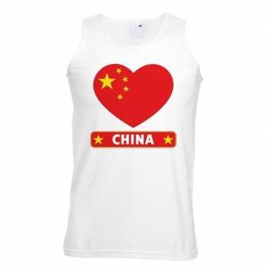 China hart vlag mouwloos shirt wit heren