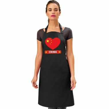 Chinese vlag in hart keukenschort/ barbecueschort zwart heren en dame