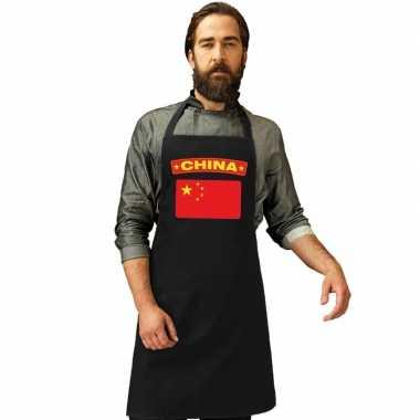 Chinese vlag keukenschort/ barbecueschort zwart heren en dames