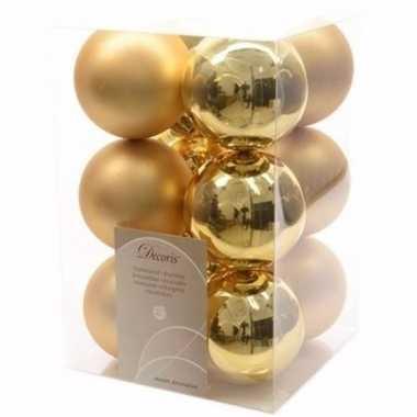 Chique christmas kerstboom decoratie kerstballen goud 12 stuks