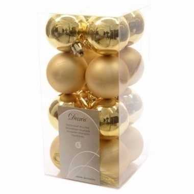 Chique christmas kerstboom decoratie kerstballen goud 16 stuks