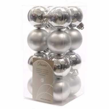 Chique christmas kerstboom decoratie kerstballen zilver 16 stuks