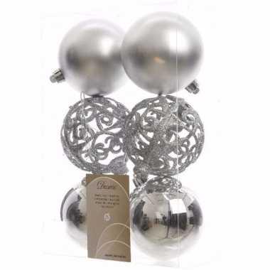 Chique christmas kerstboom decoratie kerstballen zilver 6 stuks