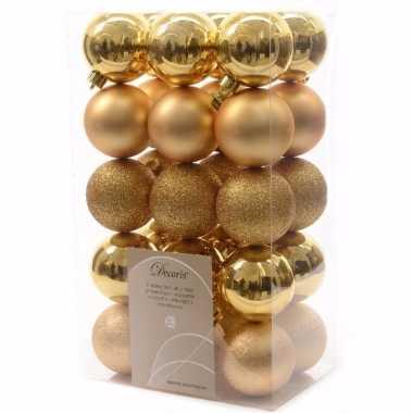 Christmas gold kerstboom decoratie kerstballen 6 cm goud 30 stuks