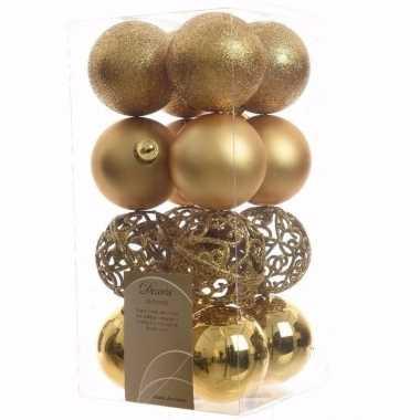 Christmas gold kerstboom decoratie kerstballen goud 16 stuks